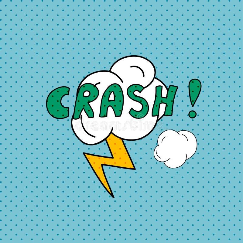crash O molde da disposição da placa do estilo do pop art da banda desenhada com nuvens seja ilustração stock