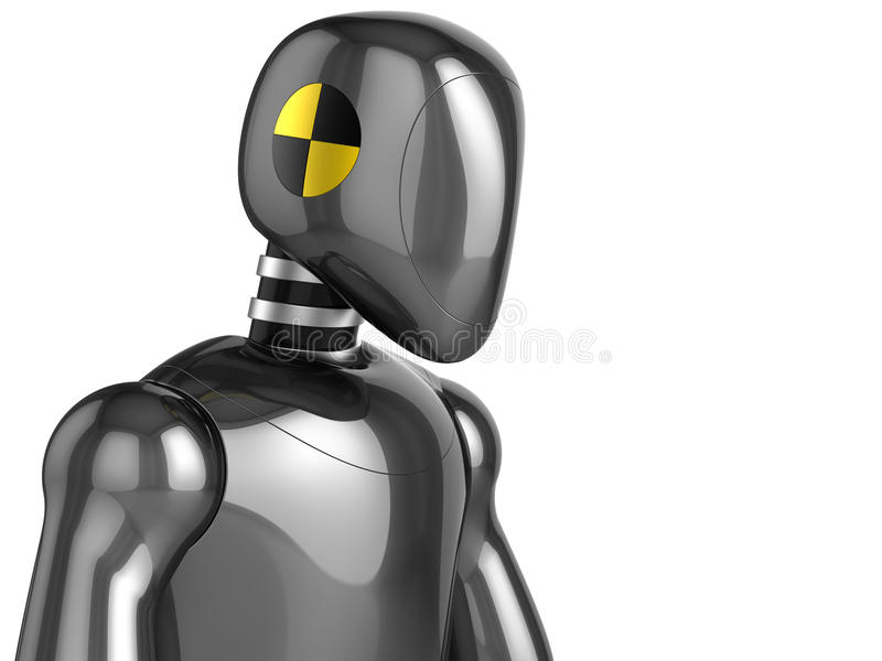Crash Test Dummy concept. Futuristic version. Crash Test Dummy shiny streamlined head and top part of his torso. This is a detailed 3D rendering. Isolated on vector illustration