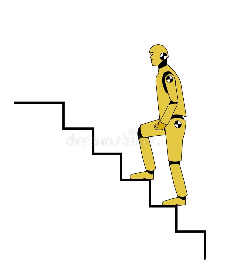 Crash test dummy. Going up the stairs stock illustration