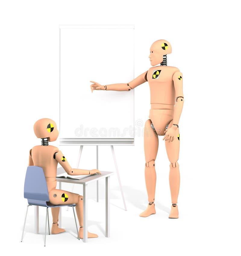Crash Test Dummy Teaching Lesson vector illustration
