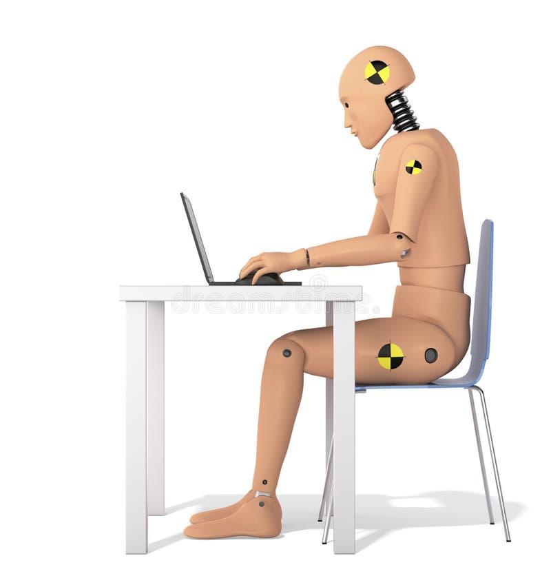Crash Test Dummy Using Laptop royalty free illustration