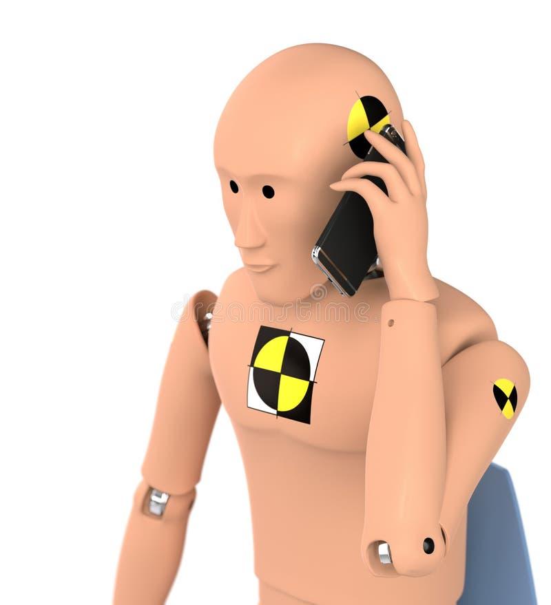 Crash Test Dummy Using Smart Phone stock illustration