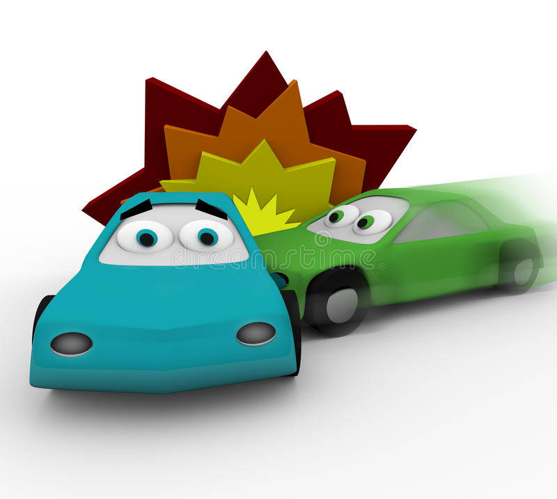 Crash - Two Cars in Accident royalty free illustration