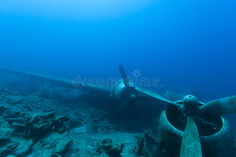Crashed aircraft underwater royalty free stock images