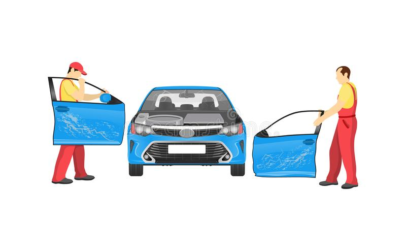 Crashed Auto in Repair Workshop Colorful Banner stock illustration