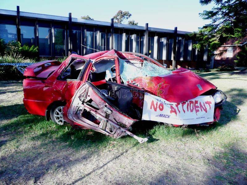 Crashed Car in Australia. Crashed Red Car Kept in Oakleigh Police Station in Australia stock photos