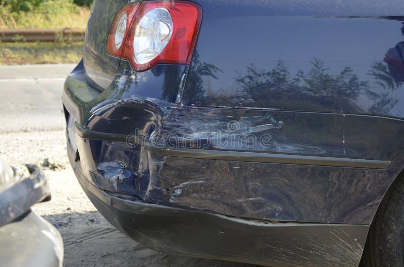 Crashed car bumper. Detail closeup royalty free stock photography