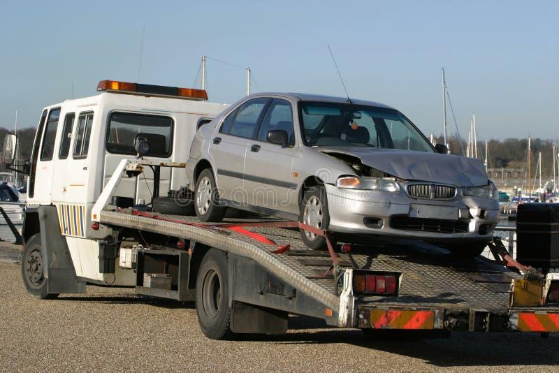 Crashed Car on Trailer royalty free stock photo