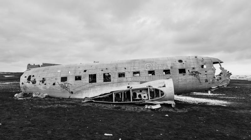 Crashed DC-3 in Iceland stock photos