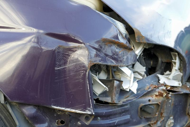 Car parts are damaged by a road collision stock images