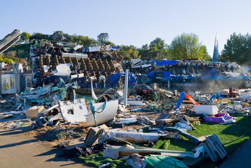 crashed houses plane στοκ φωτογραφίες