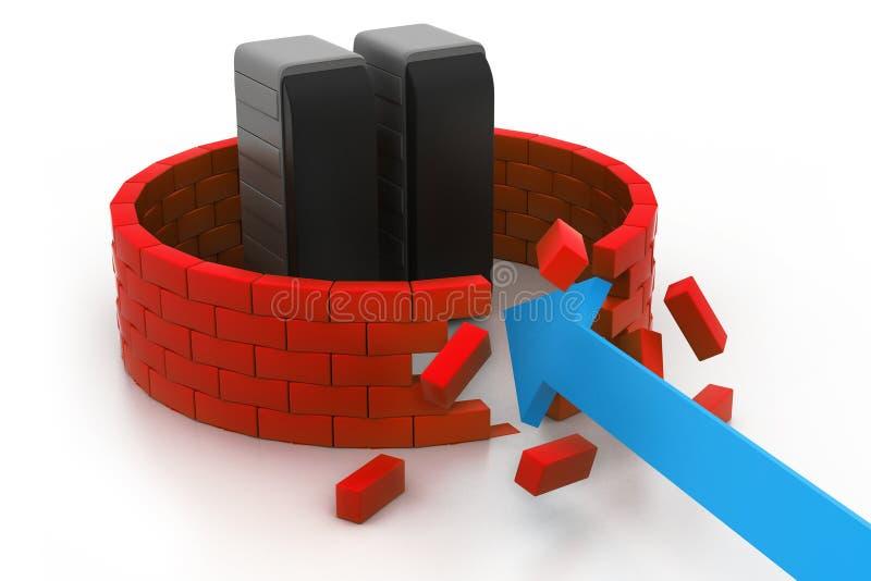 Crashed server security vector illustration