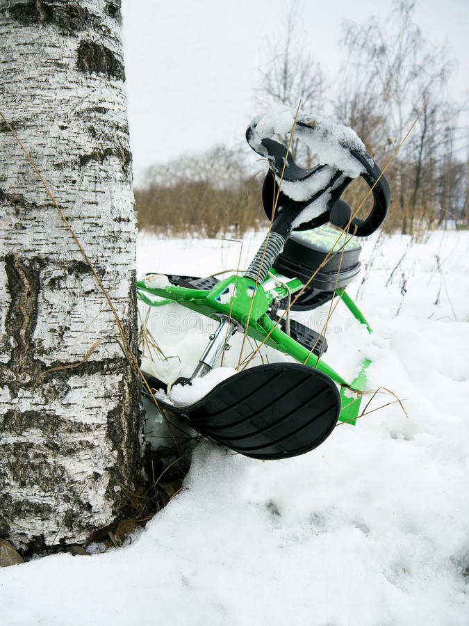 Crashed Snowmobile royalty free stock photo