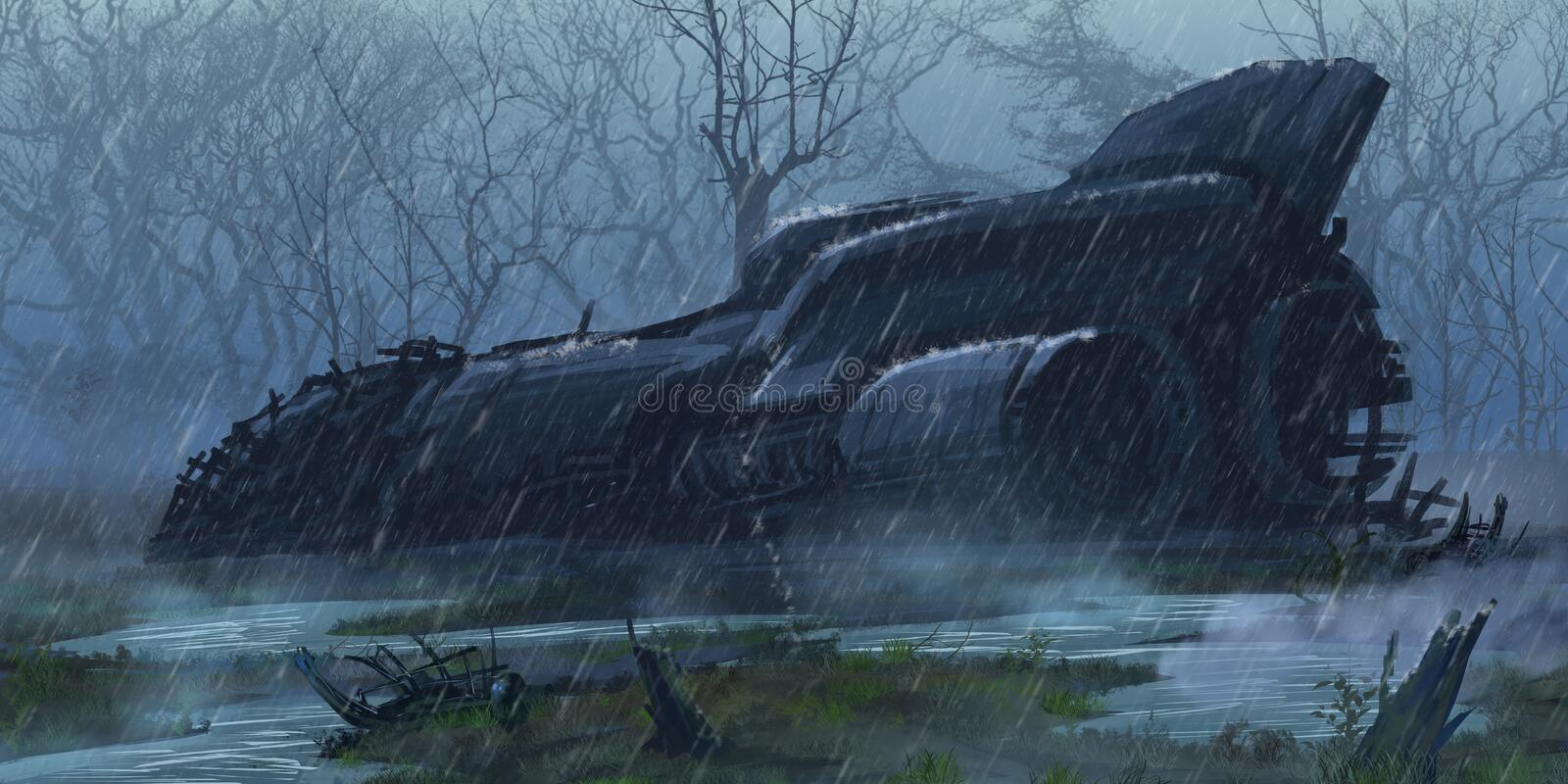 Crashed Spaceship in the Wet Land. Fiction Backdrop. Concept Art. Realistic Illustration. Video Game Digital CG Artwork. Nature Scenery stock illustration
