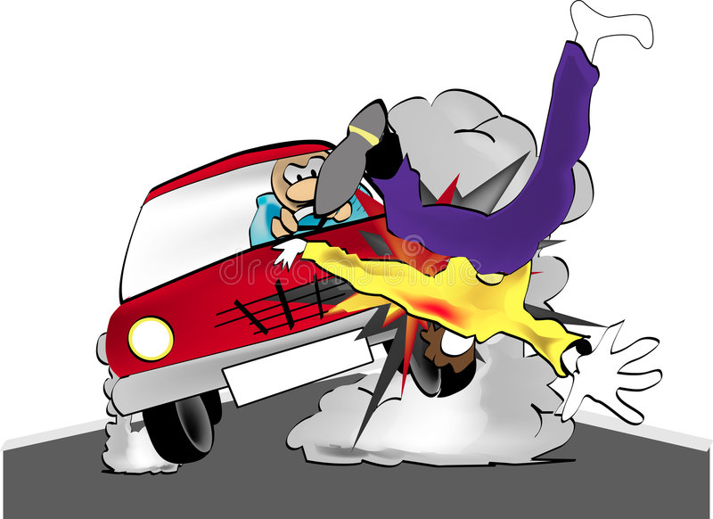 Crashing man. Illustration of the car accident vector illustration