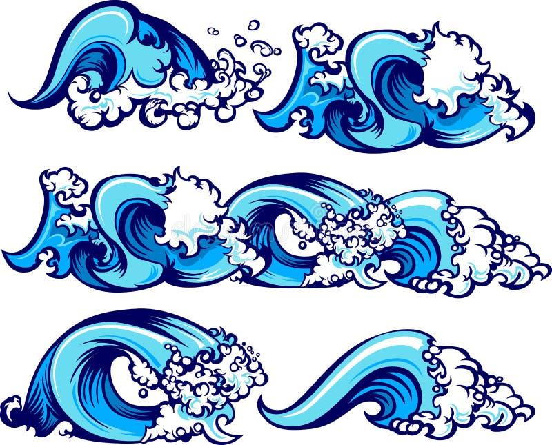 Crashing Water Waves Vector Illustrations stock illustration