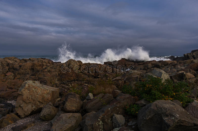 Crashing waves on the Maine coast stock photography