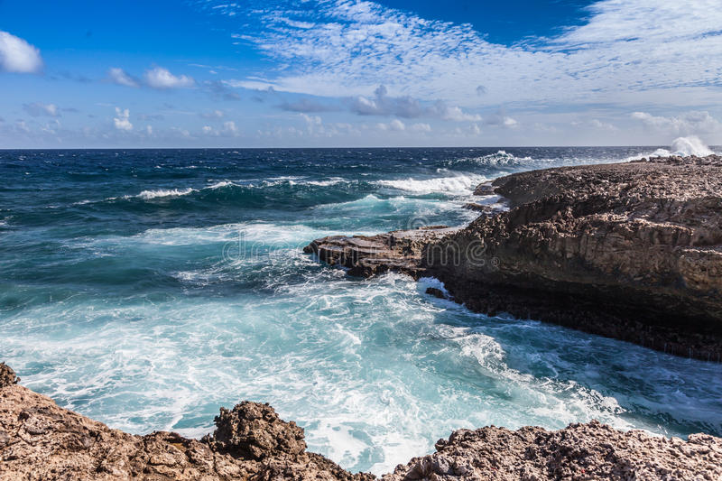 Crashing waves at Shete Boka Curacao. Crashing waves at National Park Shete Boka Curacao royalty free stock photos