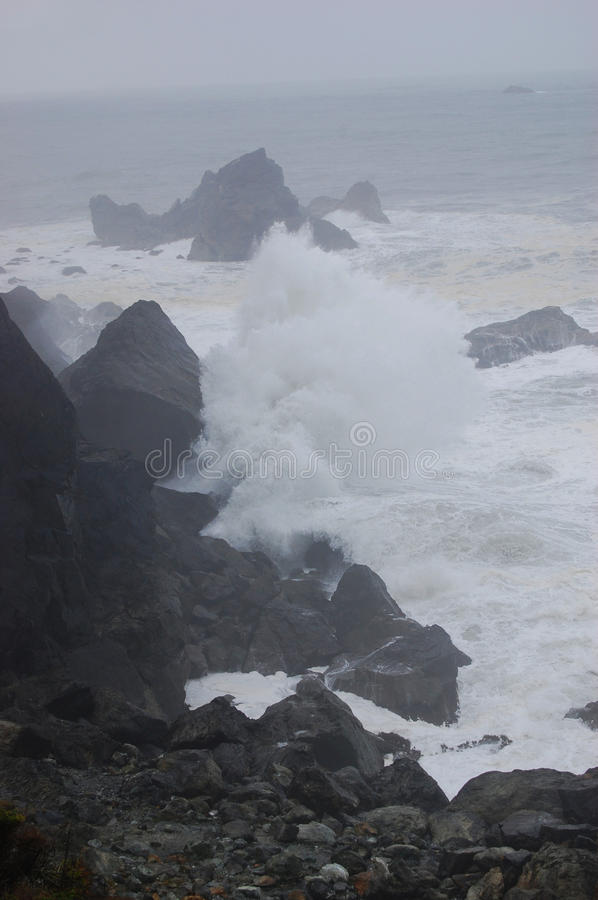 Crashing Waves in Storm stock images