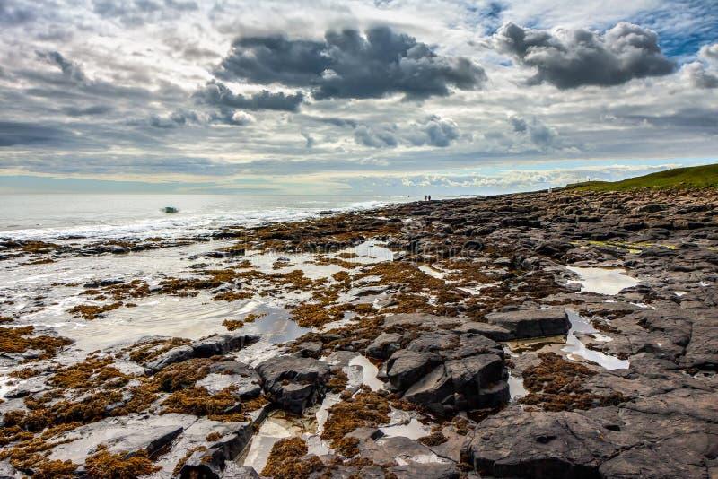 CRASTER, NORTHUMBERLAND/UK - 18 DE AGOSTO: Vista de la orilla rocosa foto de archivo libre de regalías