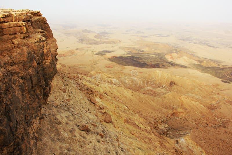 Cratère de désert du Néguev et de Ramon image libre de droits