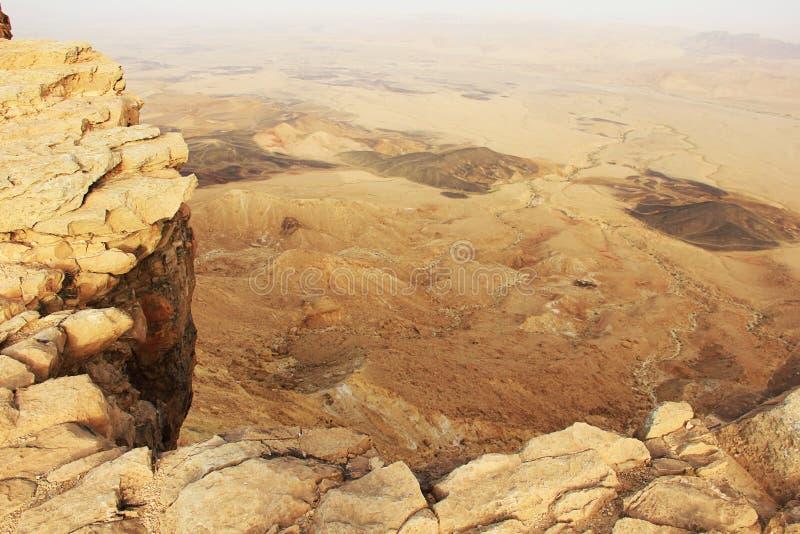 Cratère de désert du Néguev et de Ramon image stock