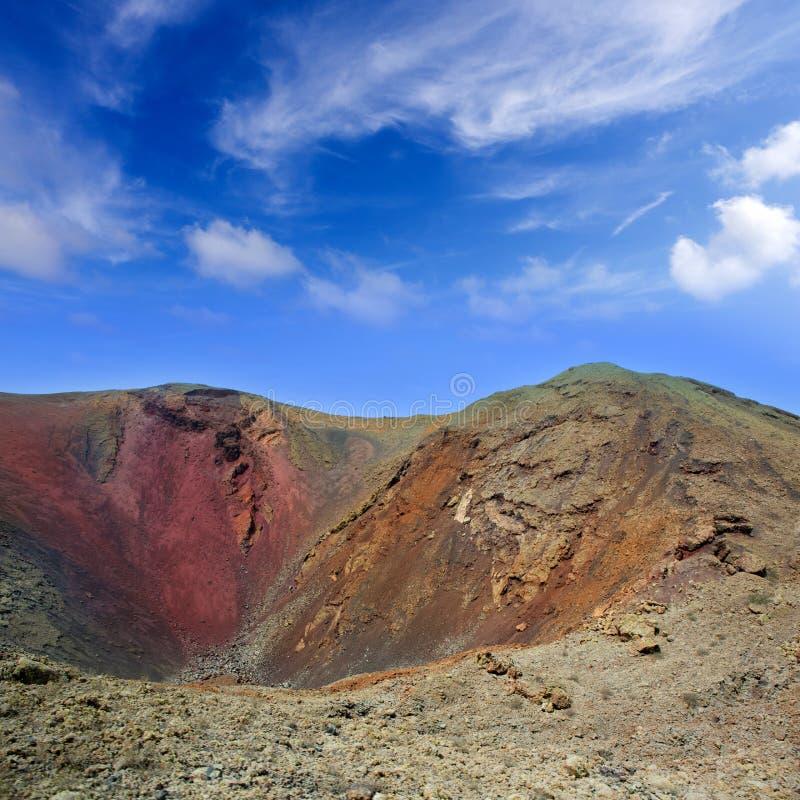 Cratère de volcan de Lanzarote Timanfaya dans les Canaries photo libre de droits