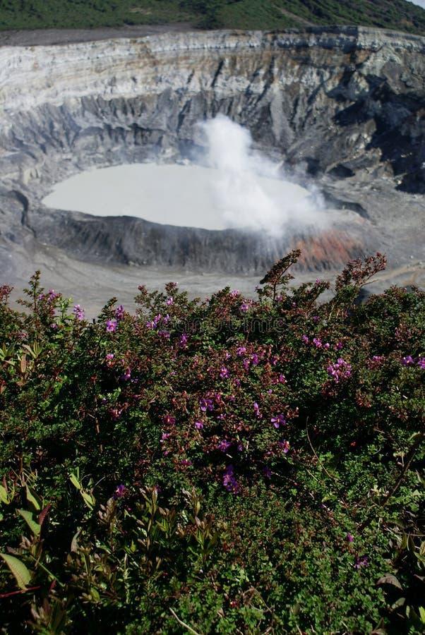 Cratère et lac de volcan Poas images stock