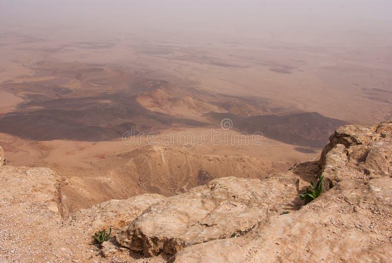 Cratère Mizpe Ramon - désert du Néguev photo stock