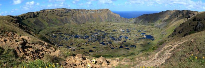 Cratère Rano Kau d'île de Pâques photos libres de droits