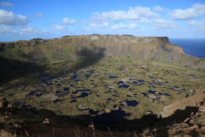 Cratère Rano Kau d'île de Pâques images libres de droits