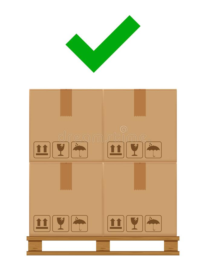 Crate boxes on wooded pallet and check mark green for product arrangement concept, stack cardboard box in factory warehouse stock illustration