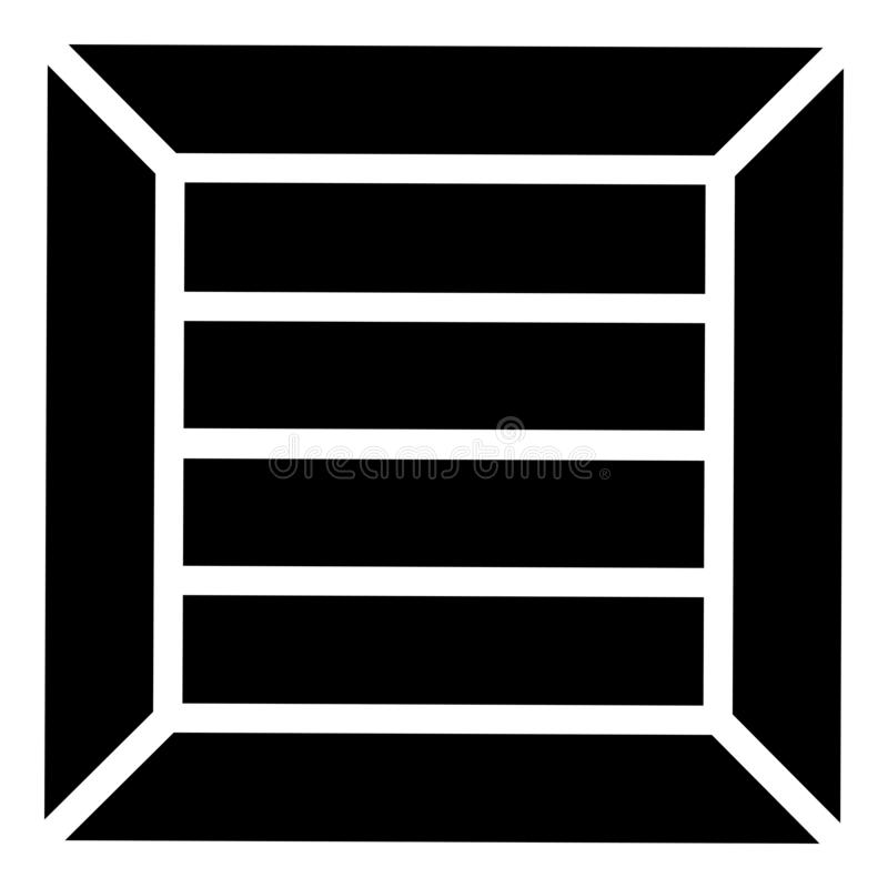 Crate for cargo transportation Wooden box ontainer icon black color vector illustration flat style image stock illustration