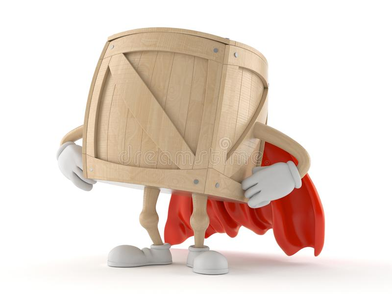 Crate character with hero cape. Isolated on white background. 3d illustration stock illustration