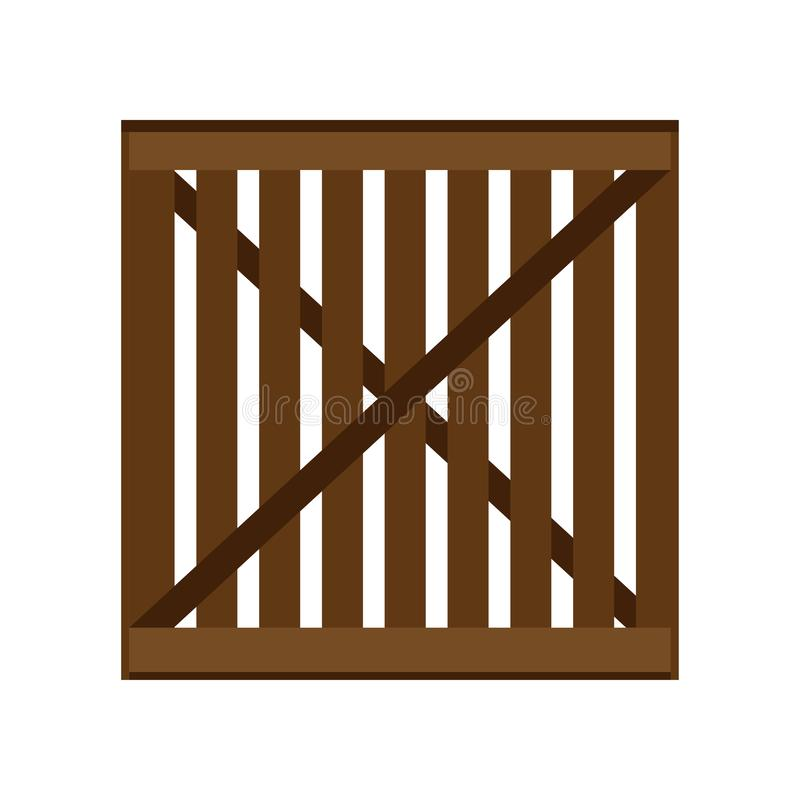 Crate packaging wooden brown symbol vector icon. Transportation goods box flat cargo container royalty free illustration