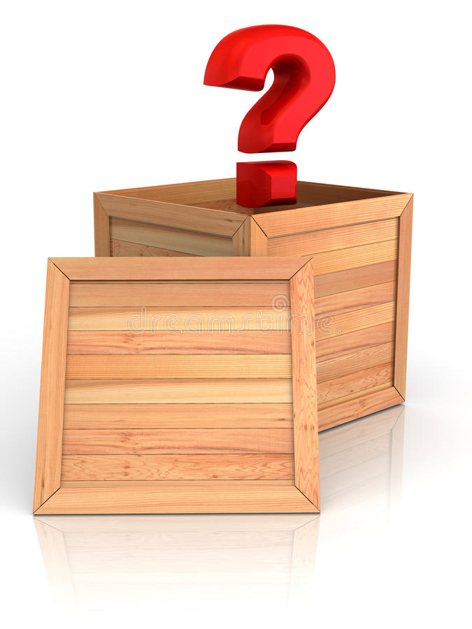 Crate with question stock illustration