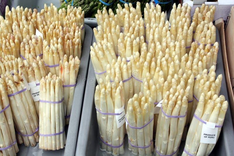 Crate of white asparagus stock photos