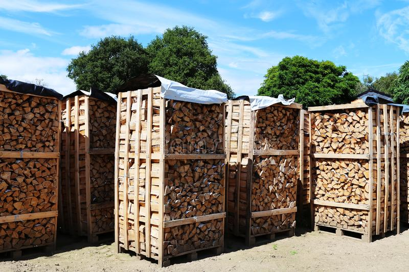 A crate with winter stock firewood stock images