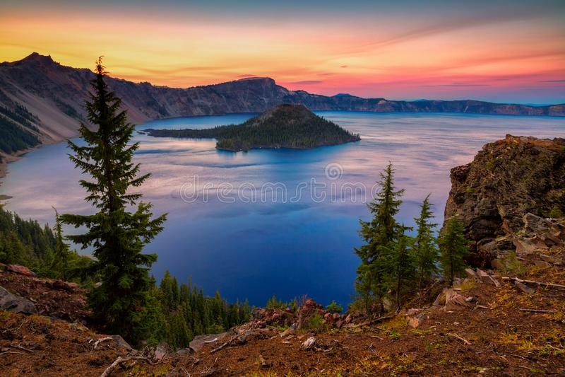 Crater湖国家公园在俄勒冈,美国 库存照片