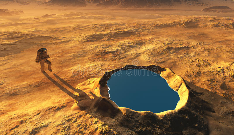 The crater. Astonavt around the crater with water royalty free illustration