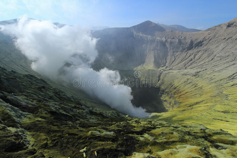 Crater Bromo volcano. The crater of Mount Bromo volcanic fumes when the mountain was in a state of alert, in October 2015