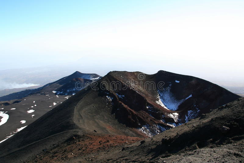 Crater of Etna Volcano royalty free stock images