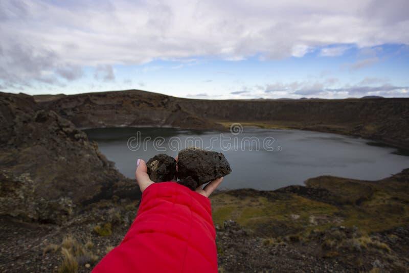 Crater Laguna Azul, Rio Gallegos, provincie Santa Cruz, Argentinië royalty-vrije stock foto's