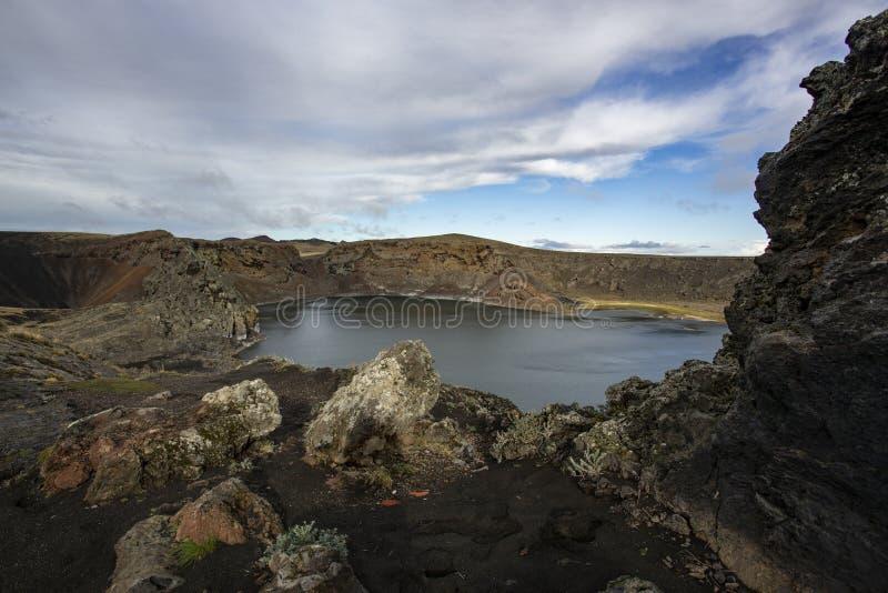 Crater Laguna Azul, Rio Gallegos, provincie Santa Cruz, Argentinië royalty-vrije stock afbeelding