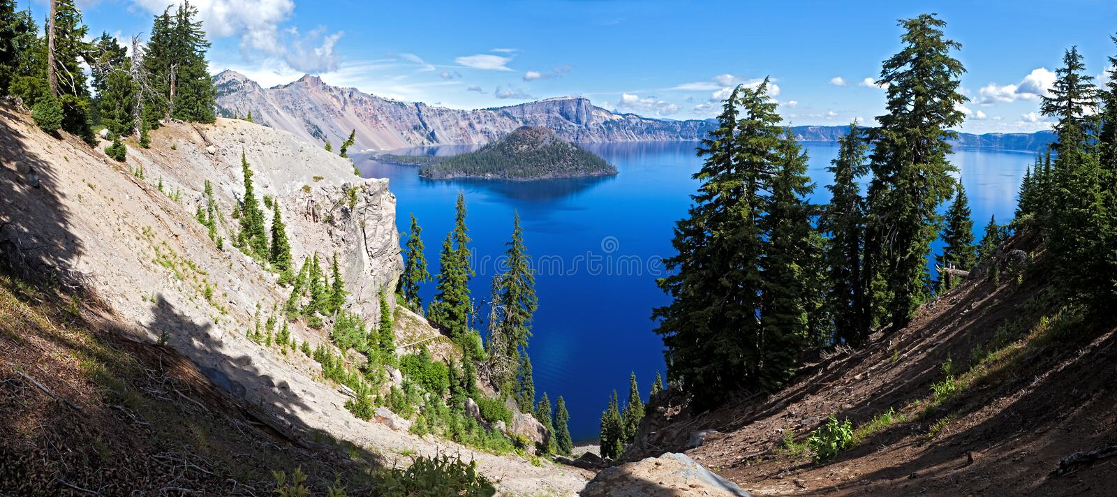 Crater Lake. Wizard Island in Crater Lake, deepest lake in USA stock image