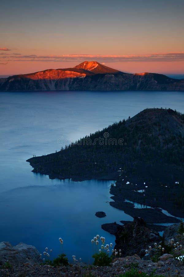 Crater lake. Sunset over crater lake - oregon stock photos