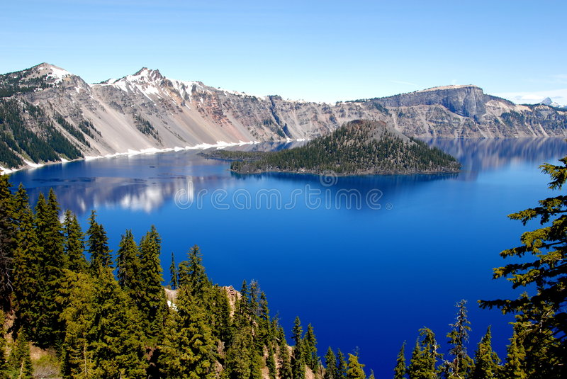 Download Crater Lake stock image. Image of island, snow, blue, water - 4927735