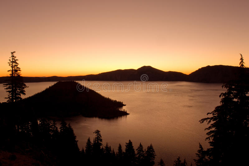 Crater lake. National park at sunset, Oregon royalty free stock photography