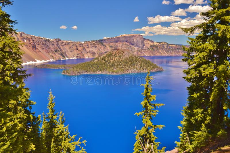 Crater Lake. Beautiful blue waters of Crater Lake in Oregon royalty free stock photo