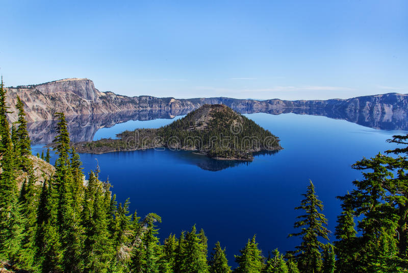 Crater Lake. In Central Oregon was formed in the crater of volcano. The color of the water is amazingly blue stock image